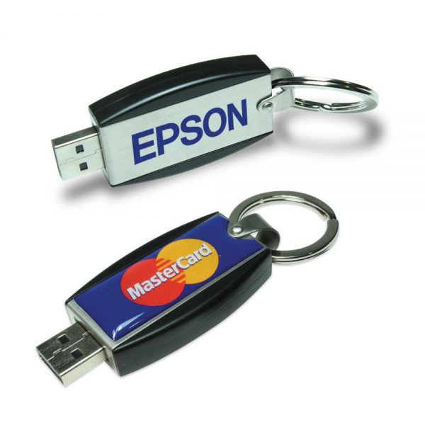 Promotional Slide Button USB with Key Holder