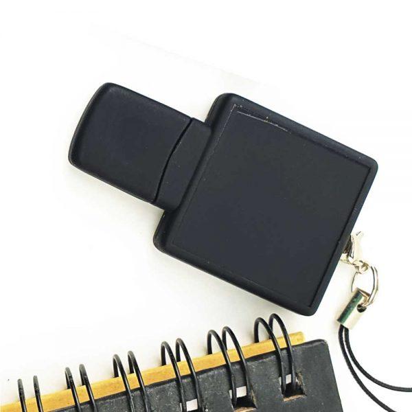 Square Black Rubberized USB