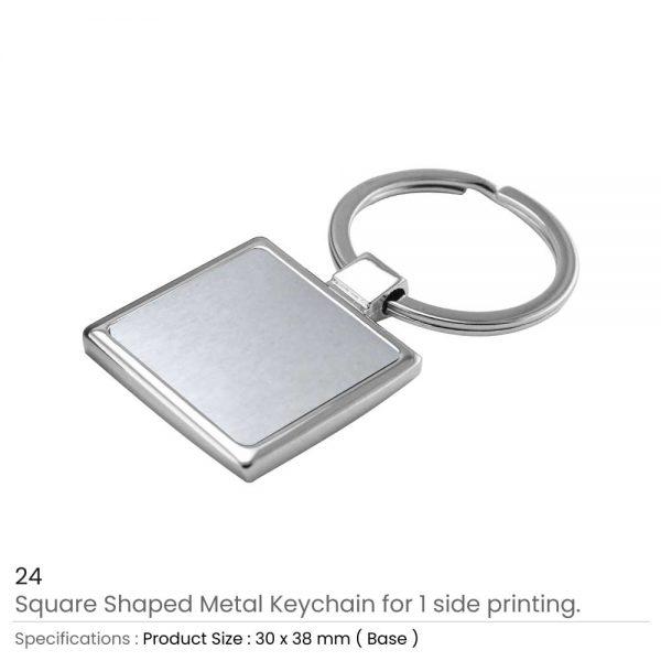 Square Shaped Metal Keychain