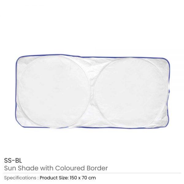 Car Sun Shades White with Blue Border