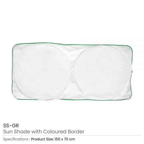 Car Sun Shades White with Green Border