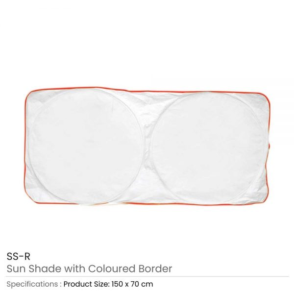 Car Sun Shades White with Red Border