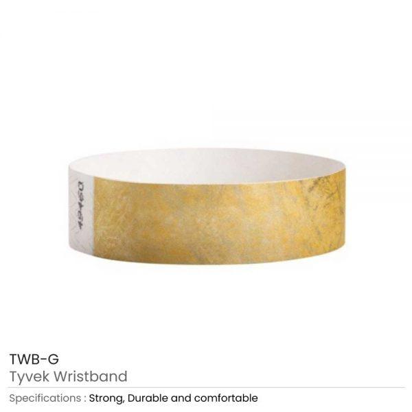 Tyvek Wristbands Gold