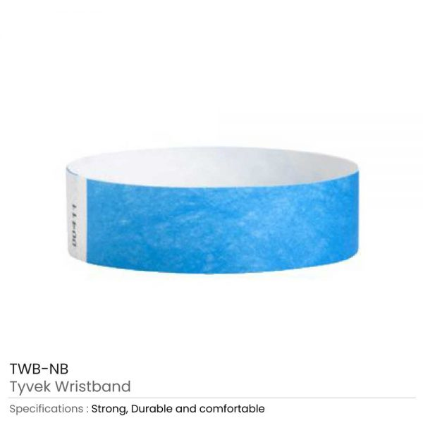 Tyvek Wristbands Neon Blue
