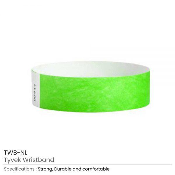 Tyvek Wristbands Neon Lime Green