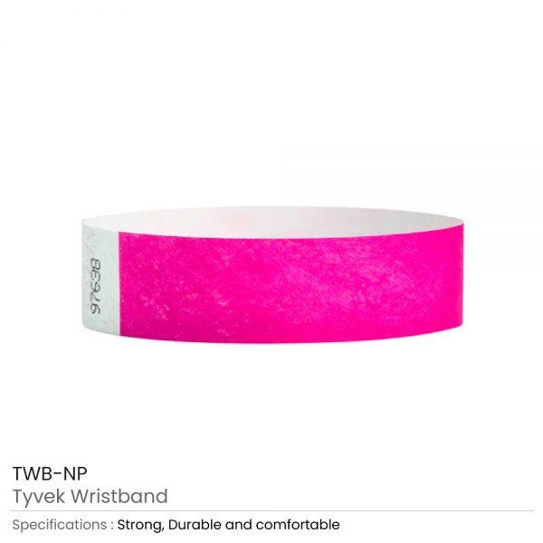 Tyvek Wristbands Neon Pink