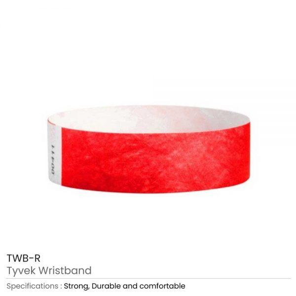 Tyvek Wristbands Red
