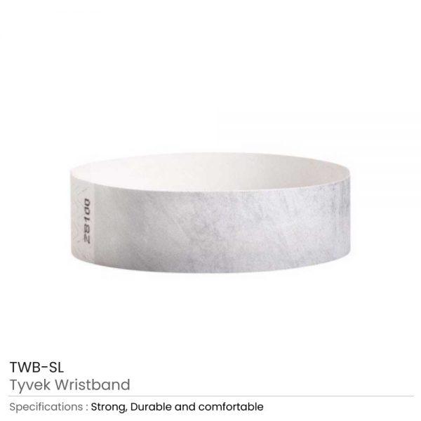 Tyvek Wristbands Silver