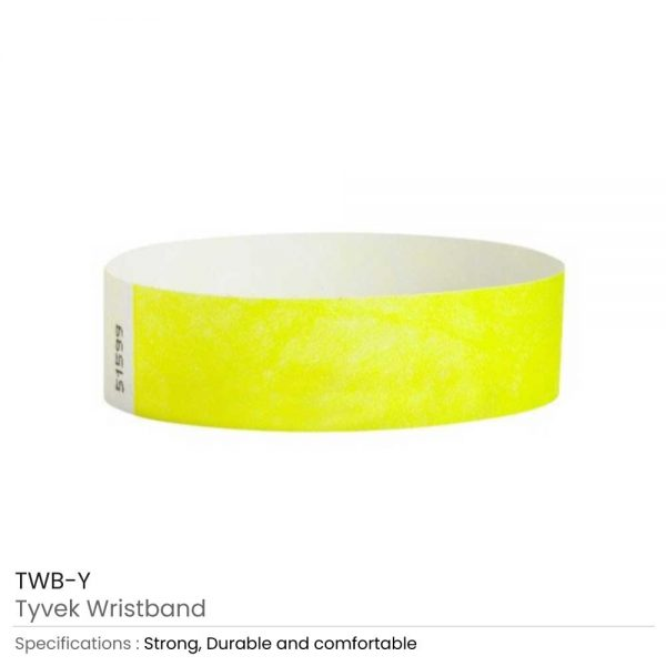 Tyvek Wristbands Yellow