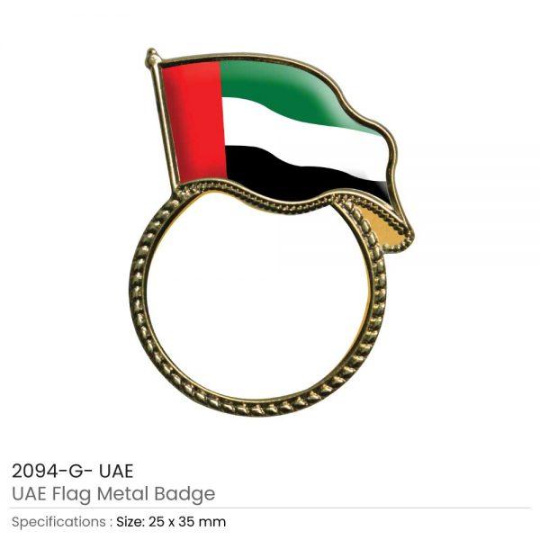 UAE Flag Pin Badges Gold