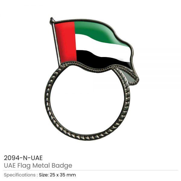 UAE Flag Pin Badges Silver