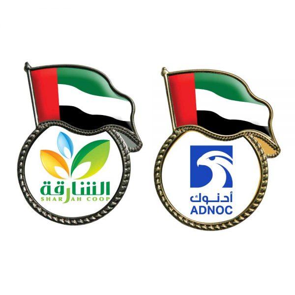 UAE Flag Pin Badges with Logo