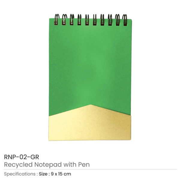 Notepad with Pen - Green